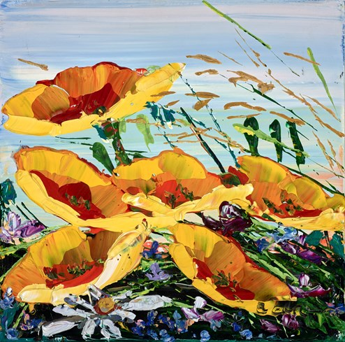 Wildflowers by Maya Eventov - Original Painting on Stretched Canvas